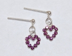 Heart Dangle Earrings - amethyst