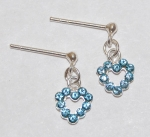 Heart Dangle Earrings - aquamarine