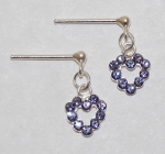 Heart Dangle Earrings - tanzanite
