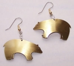 Bear Earrings - brass